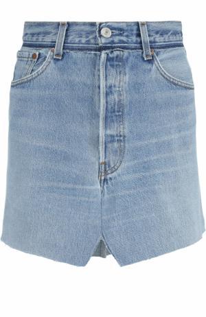 Джинсовая мини-юбка с потертостями Vetements. Цвет: синий