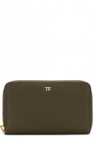 Кожаный кошелек на молнии с футляром Tom Ford. Цвет: хаки