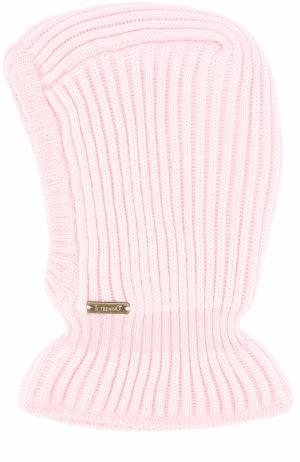 Шерстяная шапка фактурной вязки с воротником Il Trenino. Цвет: светло-розовый