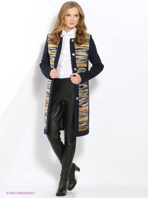 Пальто КАЛIНКА. Цвет: темно-синий, бежевый