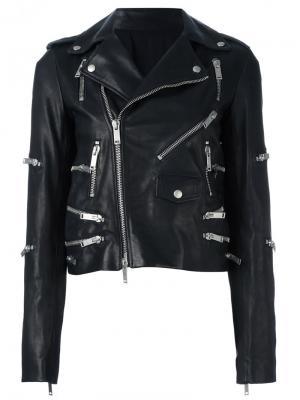 Байкерская куртка с отделкой молниями Unravel Project. Цвет: чёрный