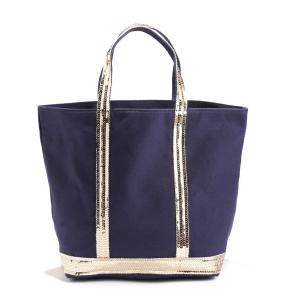 Сумка-шоппер средняя из ткани с блестками VANESSA BRUNO. Цвет: индиго