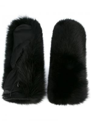 Перчатки Ski с лисьим мехом Dsquared2. Цвет: чёрный