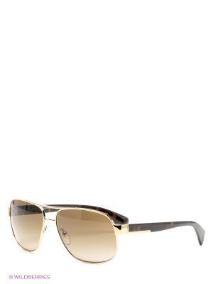 Очки солнцезащитные PRADA. Цвет: золотистый, коричневый