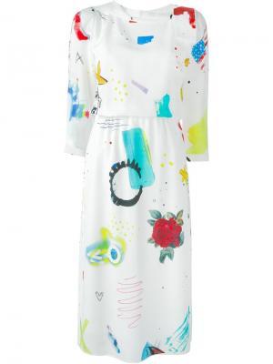 Платье Collage Print Marc Jacobs. Цвет: белый