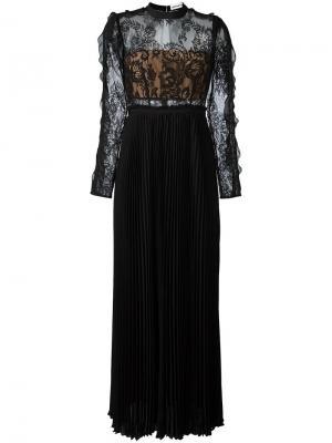 Плиссированное платье с кружевным верхом Self-Portrait. Цвет: чёрный