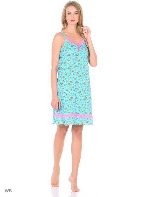 Сорочка El Fa Mei. Цвет: бирюзовый, розовый