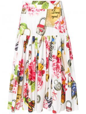 Юбка с цветочным принтом Dolce & Gabbana. Цвет: многоцветный