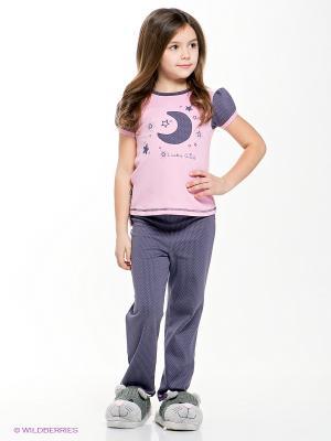 Пижама Lucky Child. Цвет: темно-серый, розовый