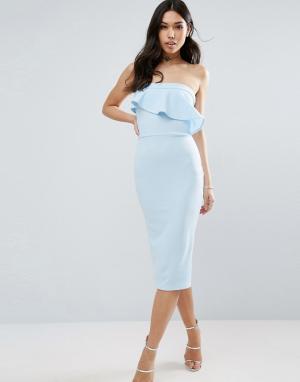 ASOS Фактурное платье-бандо миди с асимметричной оборкой. Цвет: синий