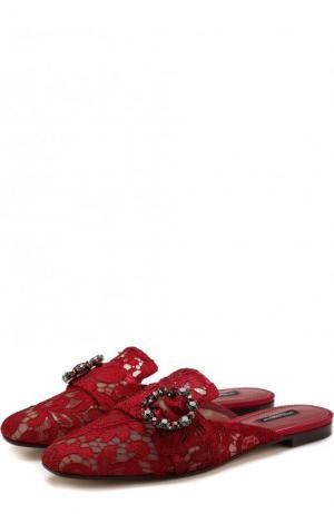 Парчовые сабо с пряжкой Dolce & Gabbana. Цвет: красный