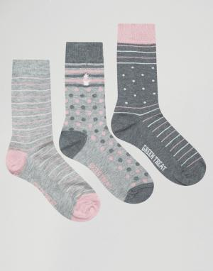 Green Treat 3 пары носков с полосками. Цвет: серый