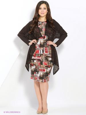 Комплект одежды Amelia Lux. Цвет: бежевый, красный, коричневый