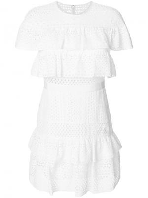 Платье мини с вышивкой Self-Portrait. Цвет: белый