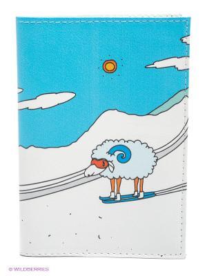 Обложка для автодокументов Овечка в горах Mitya Veselkov. Цвет: белый, голубой