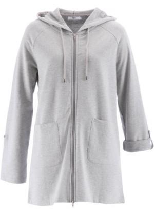 Удлиненный свитшот с длинным рукавом (светло-серый меланж) bonprix. Цвет: светло-серый меланж
