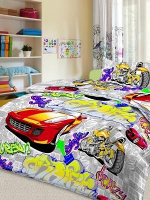 Детский комплект постельного Граффити, серый, 1,5-спальный, наволочка 50*70, хлопок Letto. Цвет: серый, красный, желтый