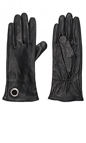 Кожаные перчатки IKKS Paris. Цвет: черный