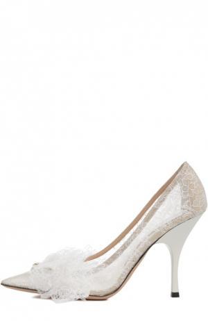 Кружевные туфли с аппликацией Rochas. Цвет: белый