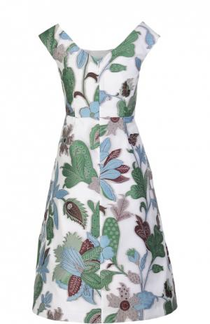 Приталенное платье с круглым вырезом и растительным принтом Tory Burch. Цвет: разноцветный