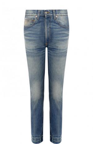 Укороченные джинсы прямого кроя с потертостями Gucci. Цвет: синий