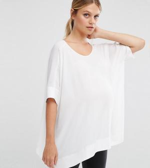 ASOS Maternity Свободная футболка‑кимоно для беременных с V‑образным вырезом сзади AS. Цвет: белый