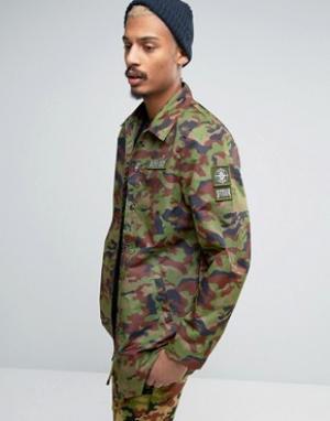 Dxpe Chef Камуфляжная спортивная куртка с нашивками в стиле милитари. Цвет: зеленый