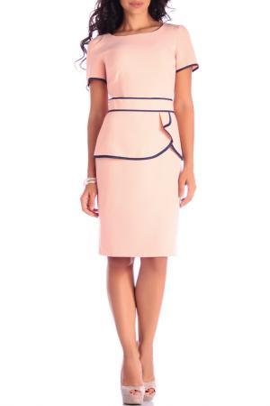 Полуприлегающее платье с поясом Laura Bettini. Цвет: нежно-розовый