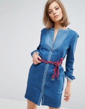 Vanessa Bruno Athé Джинсовое платье на кнопках с завязкой Athe. Цвет: синий