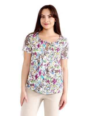Блузка женская OLBE. Цвет: белый, бирюзовый, голубой, салатовый, серо-зеленый, сливовый