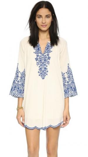 Платье с вышивкой Love Sam. Цвет: цвет слоновой кости/индиго