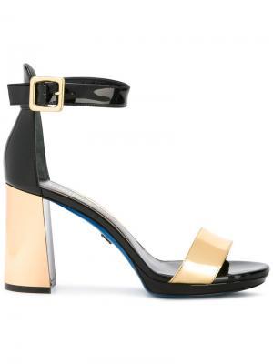 Босоножки на контрастном каблуке Loriblu. Цвет: чёрный