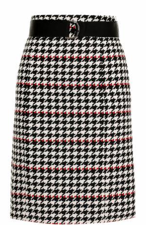 Мини-юбка с принтом гусиная лапка и поясом BOSS. Цвет: черно-белый