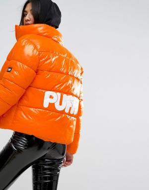 Puffa Оверсайз-куртка с логотипом на спине Original. Цвет: оранжевый
