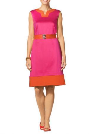 Полуприлегающее платье с ремнем Apart. Цвет: розовый, оранжево-красный