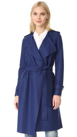 Длинное пальто-тренч Harris Wharf London. Цвет: голубой