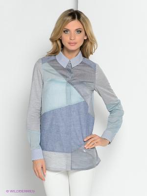 Блузка YUVITA. Цвет: серый, голубой