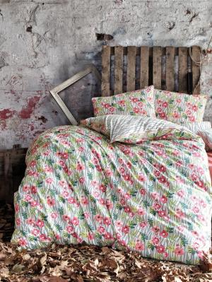 Комплект постельного белья WILD FLOWER ранфорс, 145ТС, евро ISSIMO Home. Цвет: серо-зеленый