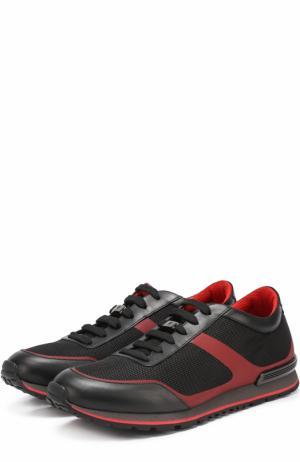 Текстильные кроссовки на шнуровке с отделкой из натуральной кожи Tod's. Цвет: черный