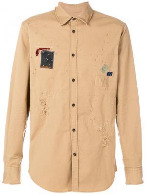 Рубашка с заплаткой Dsquared2. Цвет: коричневый