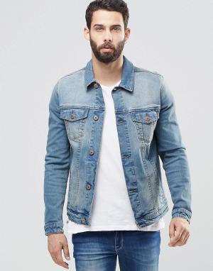 ASOS Джинсовая куртка скинни. Цвет: синий
