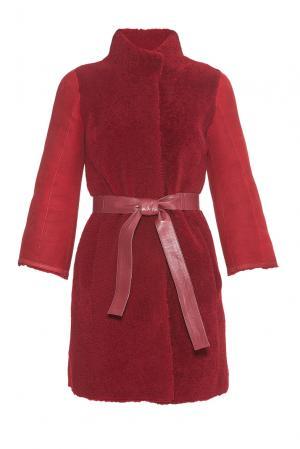 Дубленка с поясом 181535 Mondial. Цвет: красный