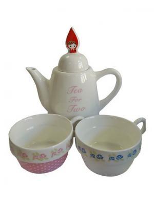 Набор: чайник, чашка 2 шт., 500 мл. 8,5*22 см. PATRICIA. Цвет: белый, голубой
