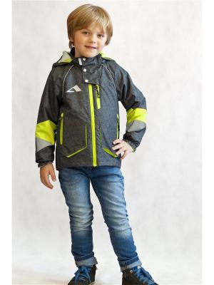 Куртка Oldos. Цвет: серый, желтый