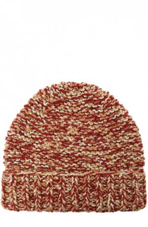 Вязаная шапка с отворотом 7II. Цвет: красный