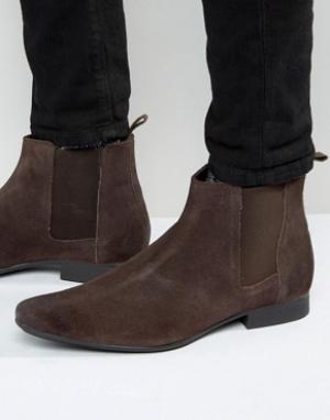 Frank Wright Ботинки челси из коричневой замши. Цвет: коричневый
