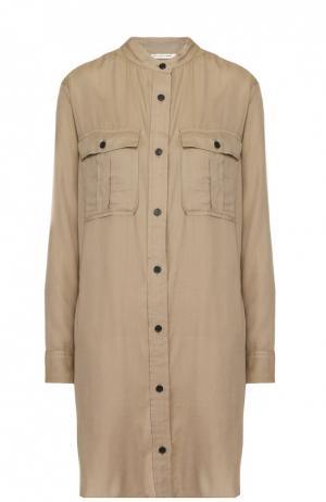 Платье-рубашка прямого кроя с накладными карманами Isabel Marant Etoile. Цвет: бежевый