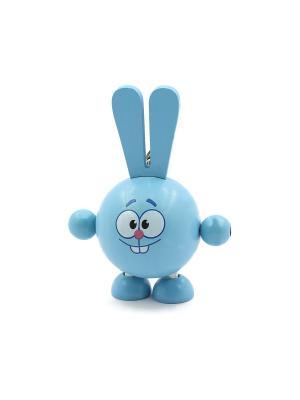 Развивающая игрушка дергунчик Крош Игрушки из дерева. Цвет: голубой