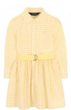 Хлопковое платье-рубашка в клетку с поясом Polo Ralph Lauren. Цвет: желтый
