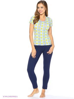 Футболка женская Comazo. Цвет: салатовый, голубой